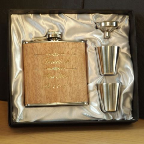 Personalised 6oz Wooden Hip Flask Cup & Funnel Gift Box Set